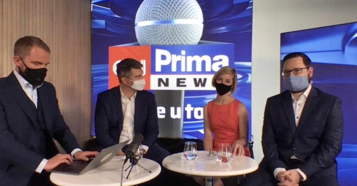 Dnešní tisková konference CNN Prima News, konaná přes videoplatformu Zoom: zleva Libor Bouček, Marek Singer, Eliška Čeřovská, Tomáš Večeřa