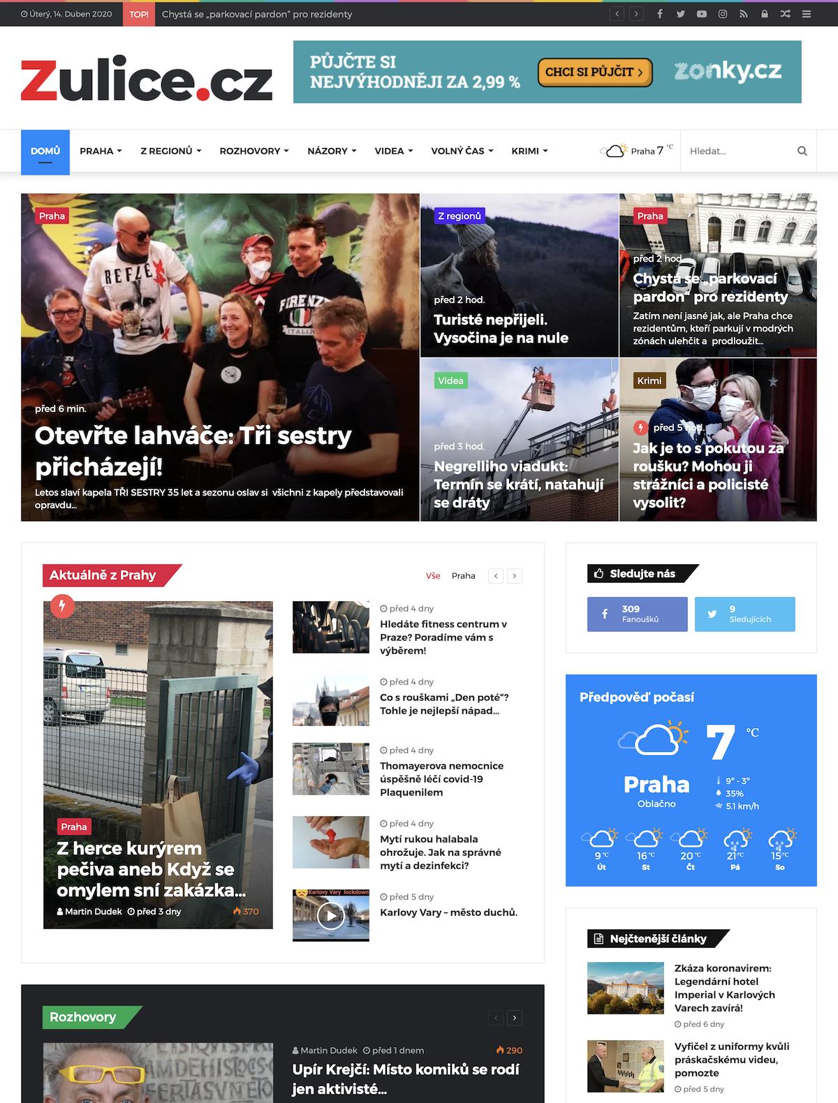 Titulní strana webu Zulice.cz