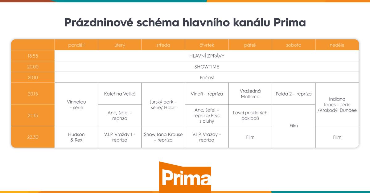 Programové schéma Primy na léto 2020