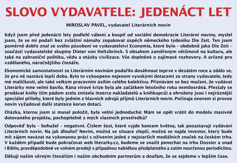 Úvodník předposledního čísla Literárních novin
