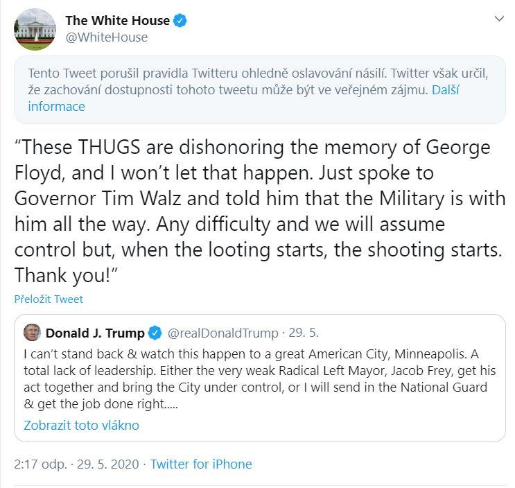 Bílý Dům porušil pravidla. Repro: Twitter