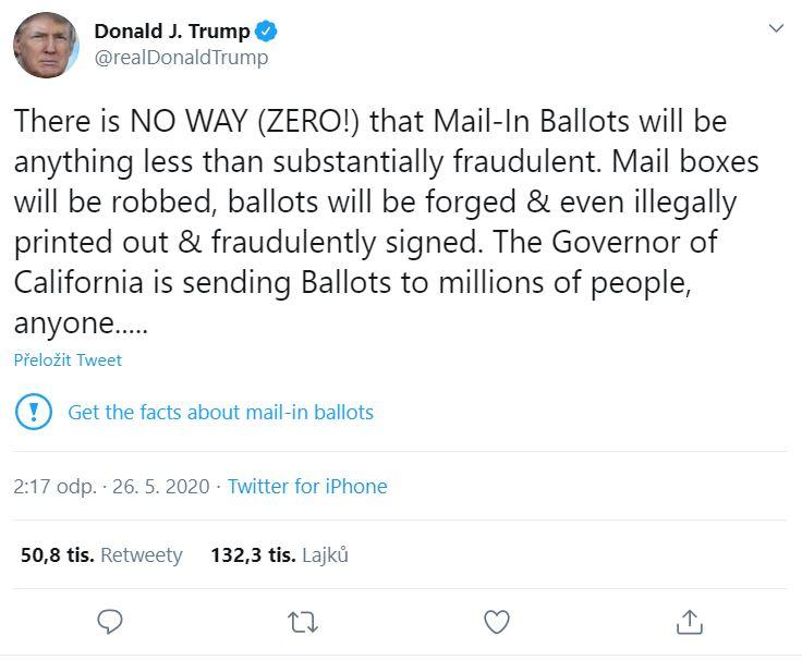 Twitter nabízí fakta o korespondenčním hlasování. Repro: Twitter