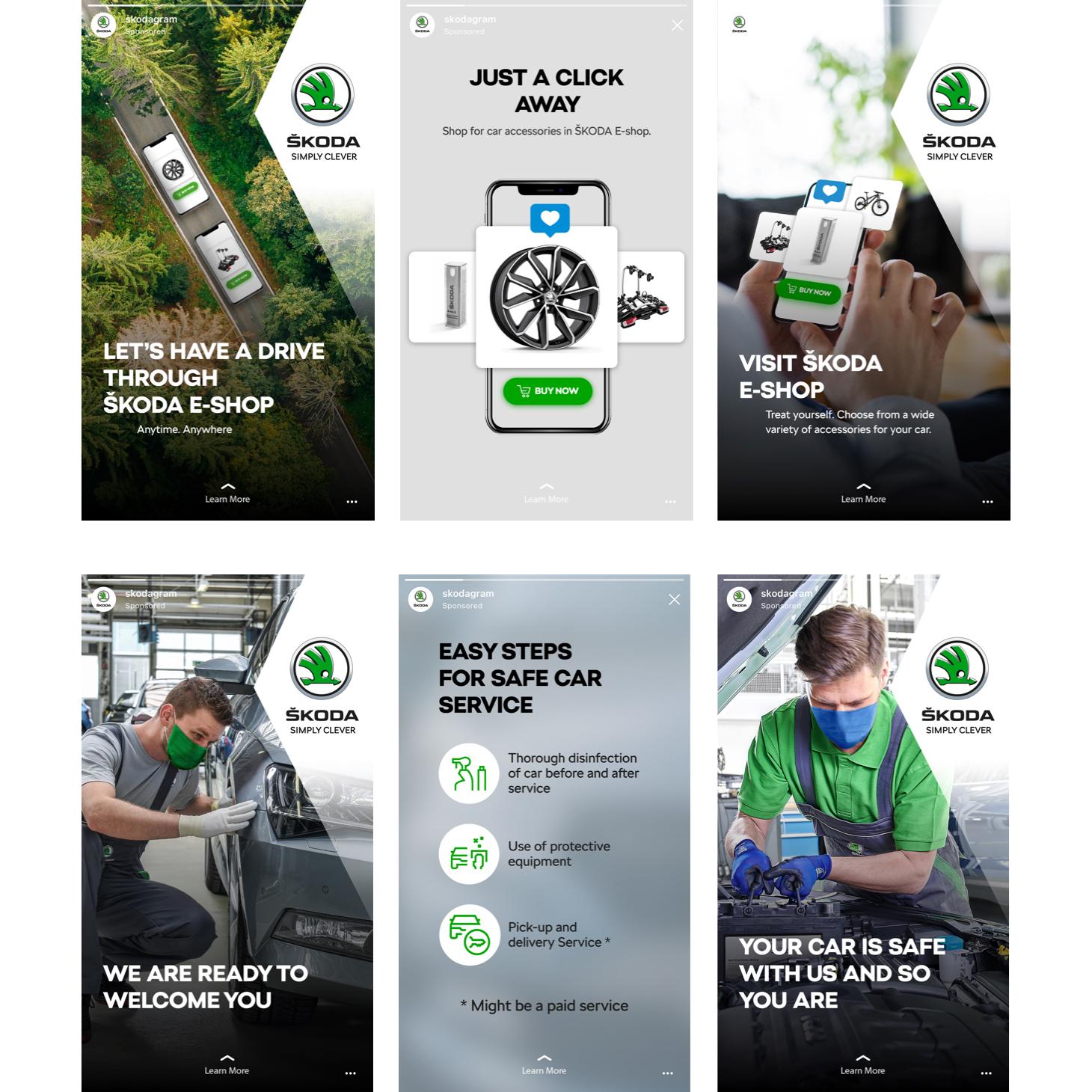 After sales kampaň Škody: Instagram Stories