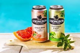 Cidery Strongbow mají varianty Cucumber & Mint a Citrus Edge a mapu grilovišť