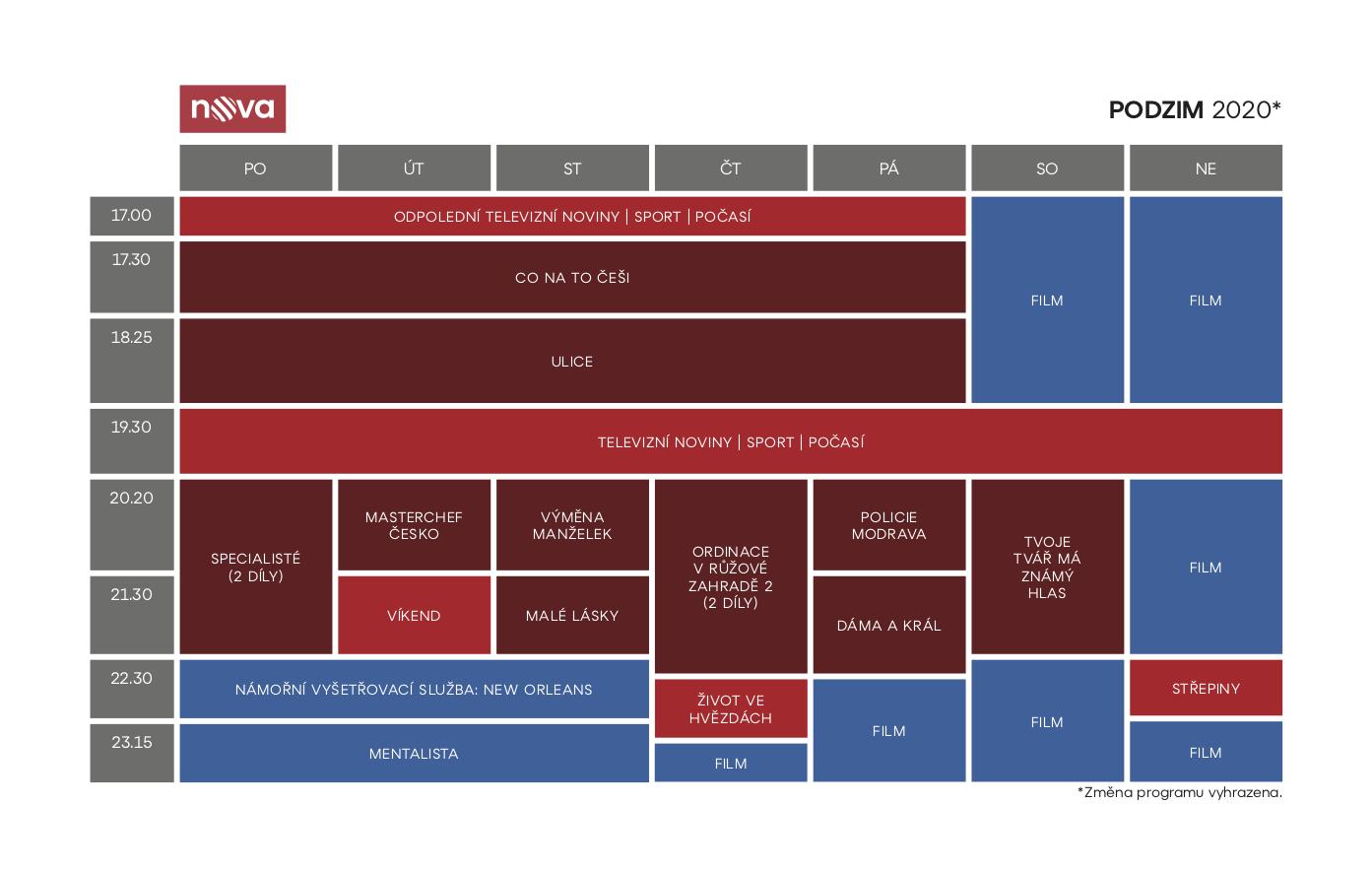 Programové schéma hlavního kanáu televize Nova na podzim 2020