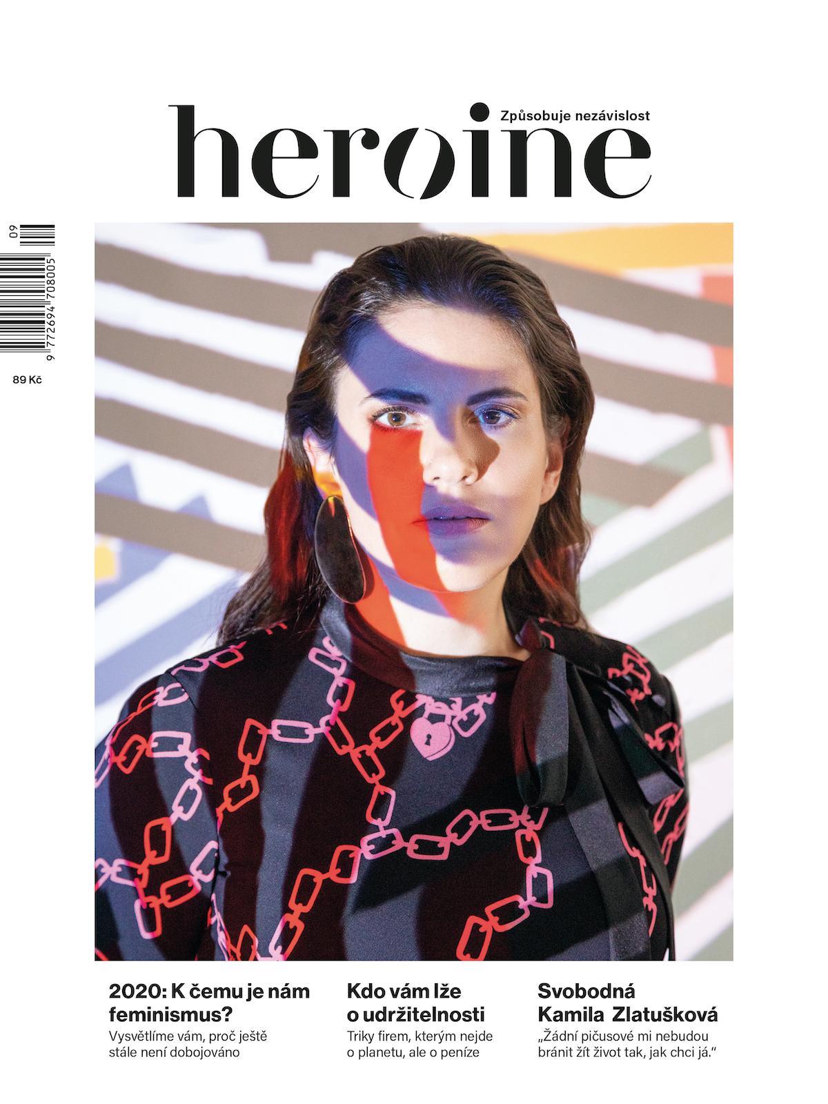 Na titulní straně zářijového čísla Heroine je Kamila Zlatušková