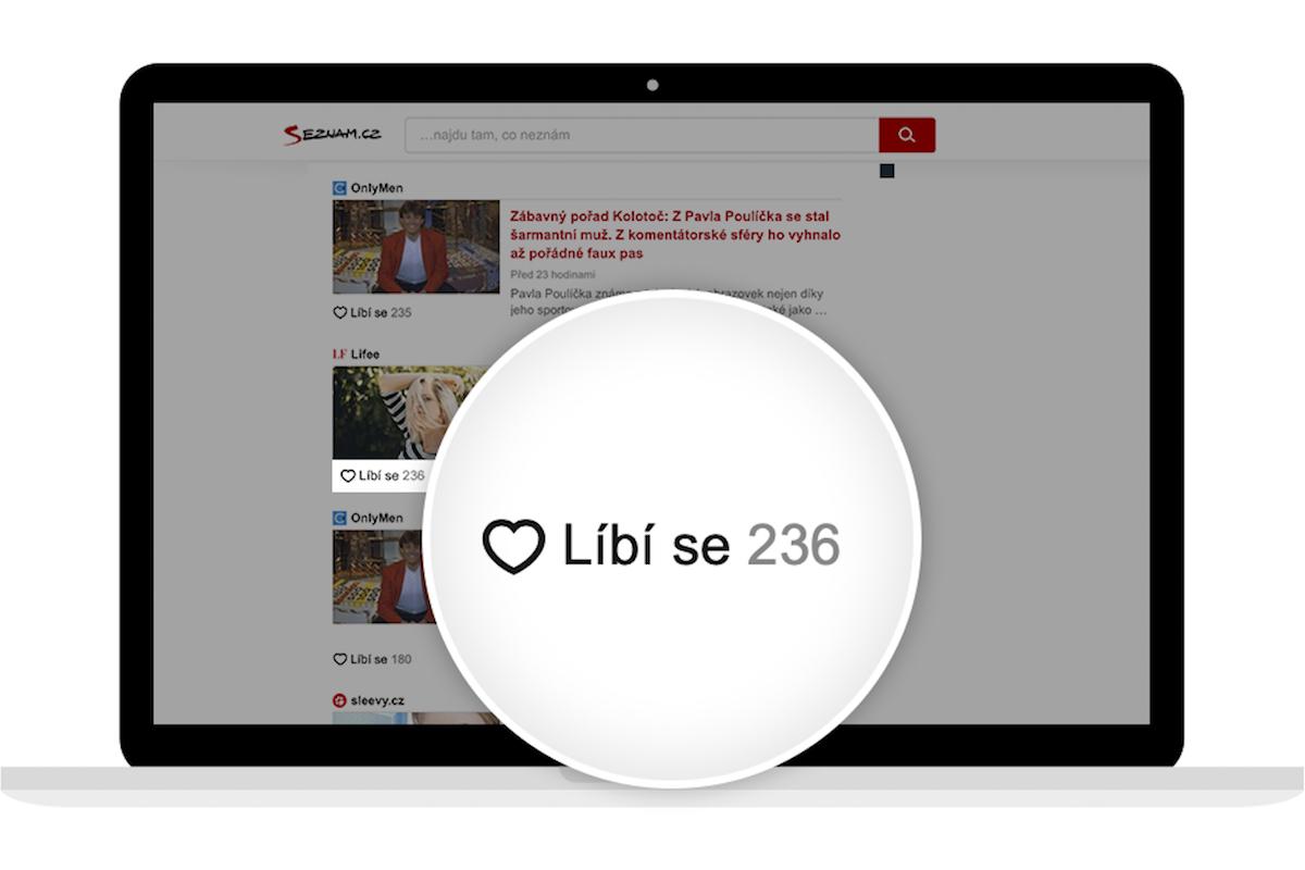 K hodnocení obsahu slouží uživatelům nově tlačítko Líbí se