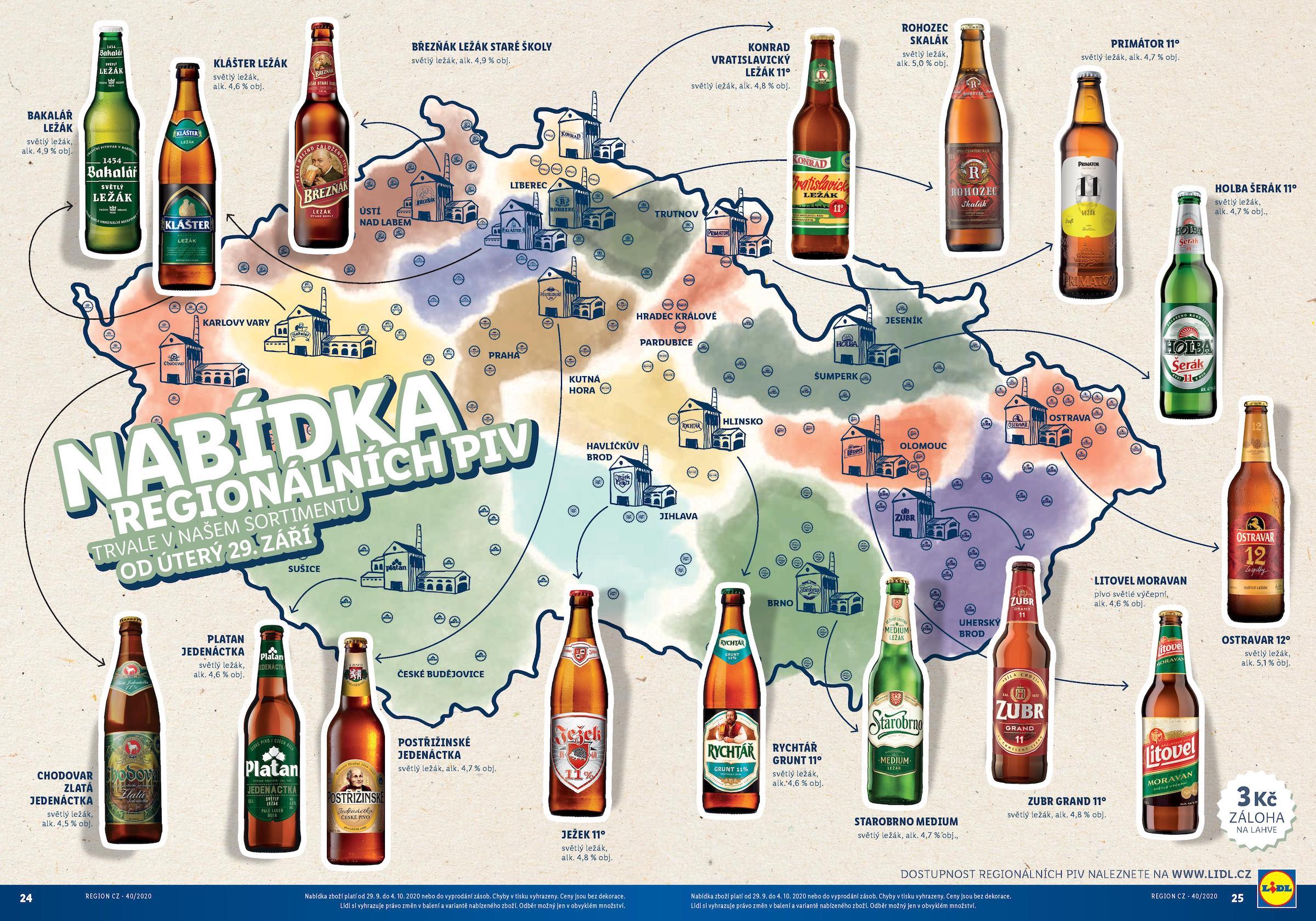 Regionální piva v Lidlu. Kliknutím zvětšíte