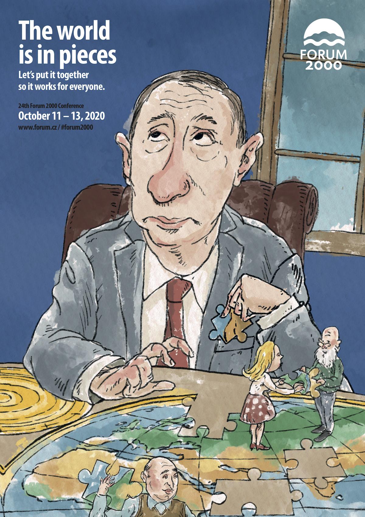 Vladimir Putin v kreslené kampani Fora 2000