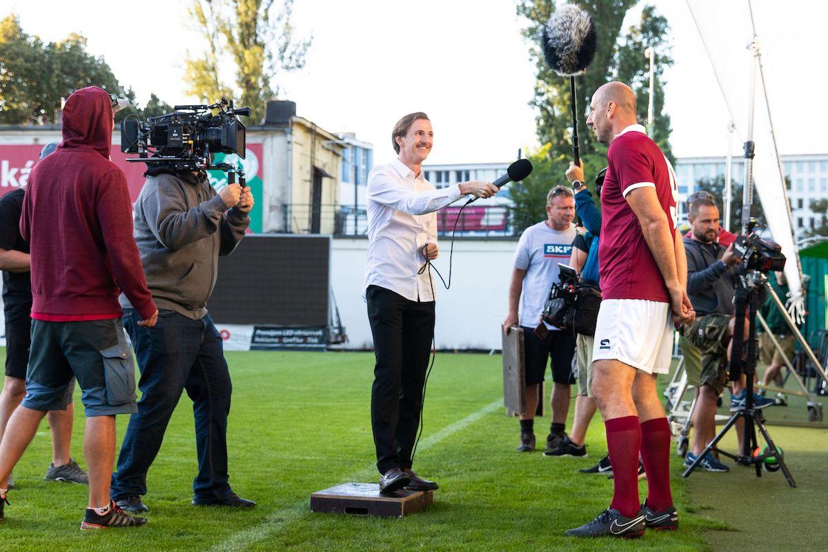 Jan Koller při natáčení kampaně Livesportu