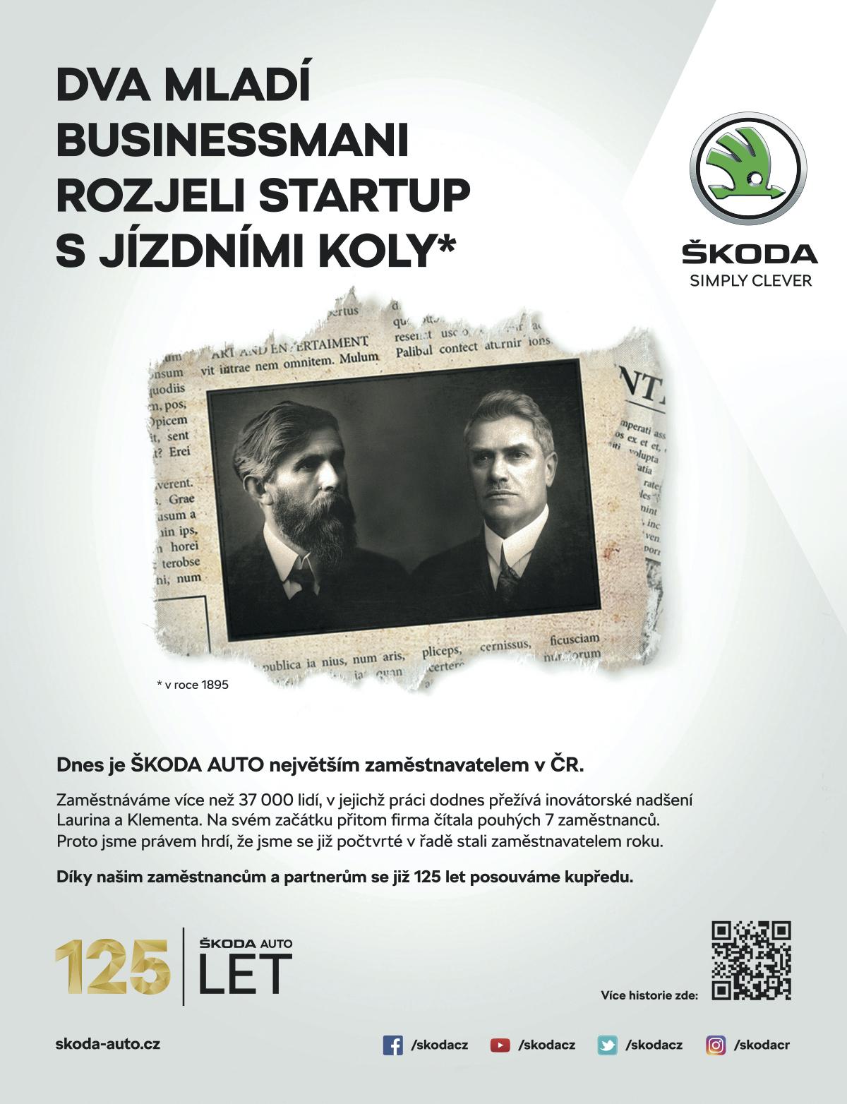 Tiskový inzerát z kampaně ke 125 letům Škody