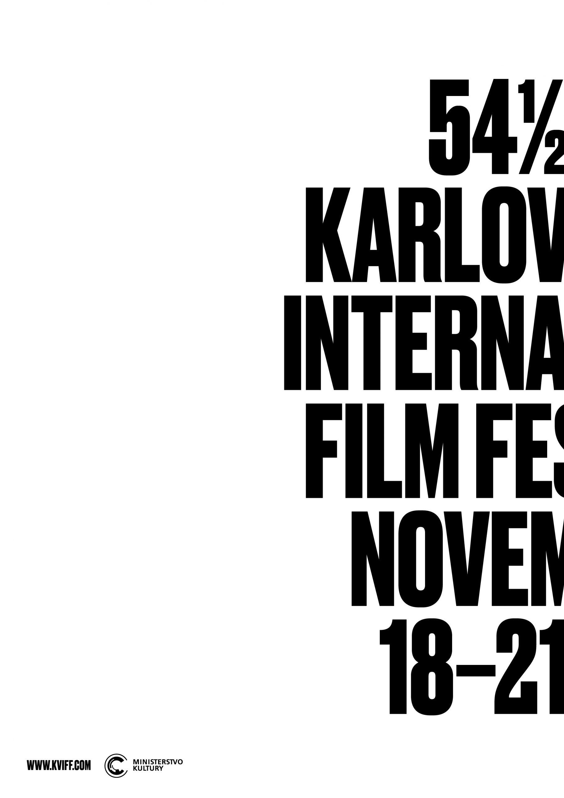 Plakát filmové přehlídky 54 1/2 MFF Karlovy Vary. Design: Studio Najbrt