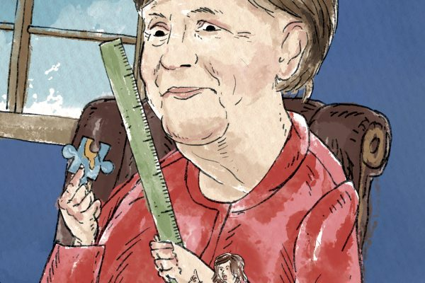 Angela Merkel v kreslené kampani Fora 2000