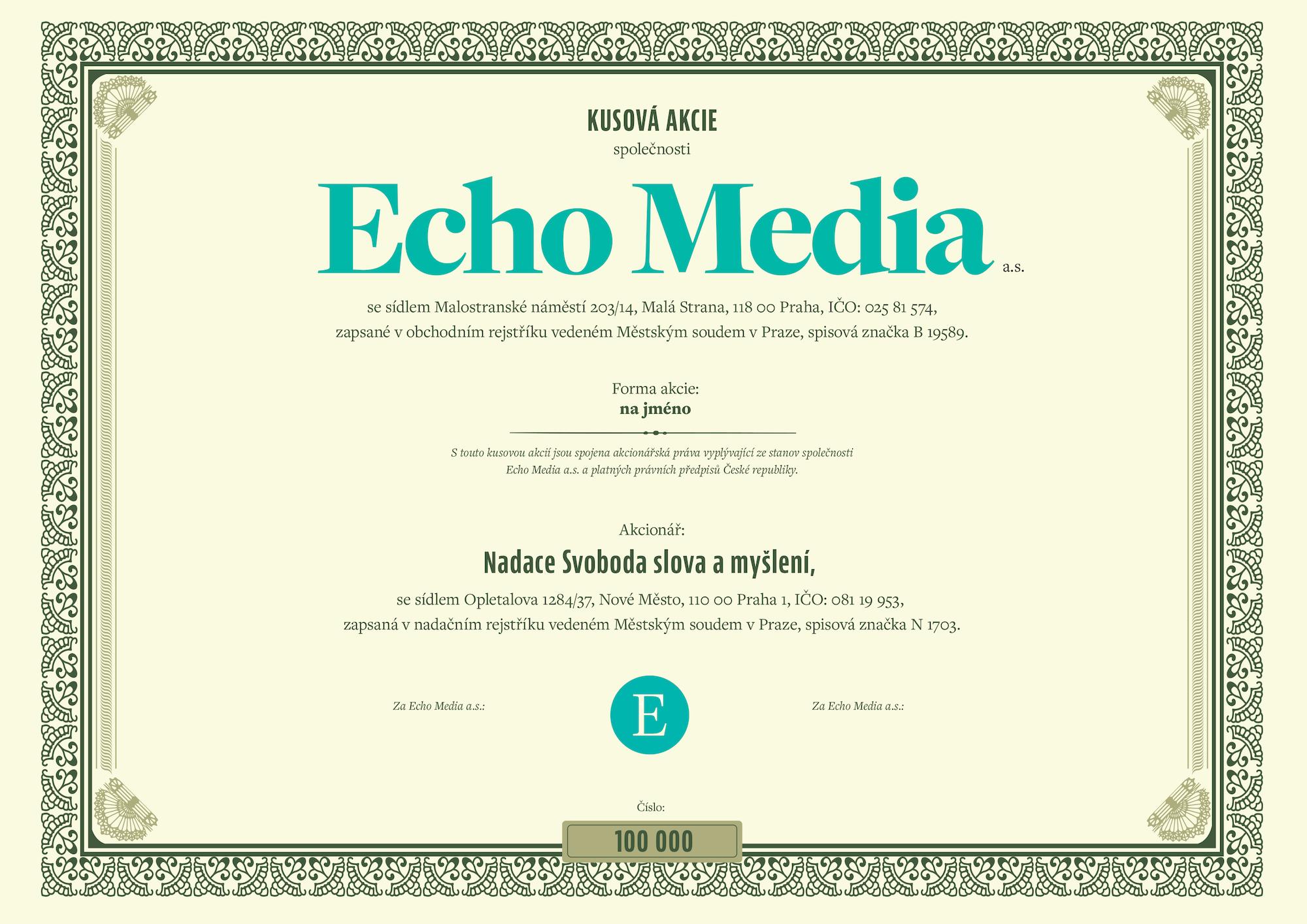 Vzorová akcie Echo Media