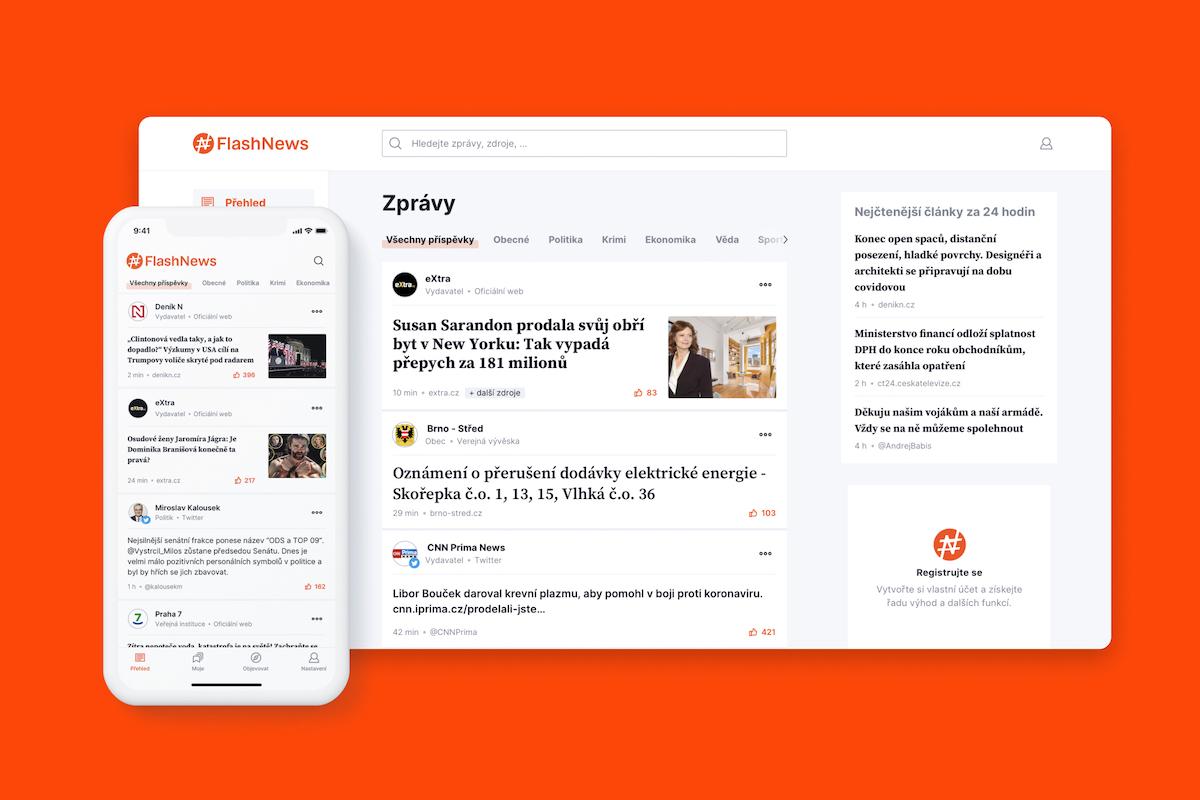 Služba FlashNews funguje na webu a v mobilní aplikaci