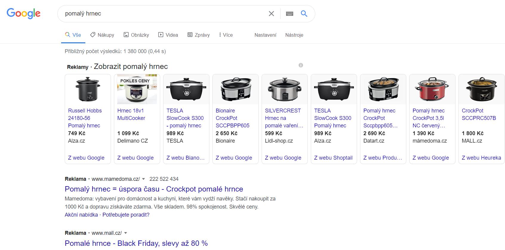 Pět z devíti pomalých hrnců porovnal sám Google, zbytek třetí strany. Repro: Google