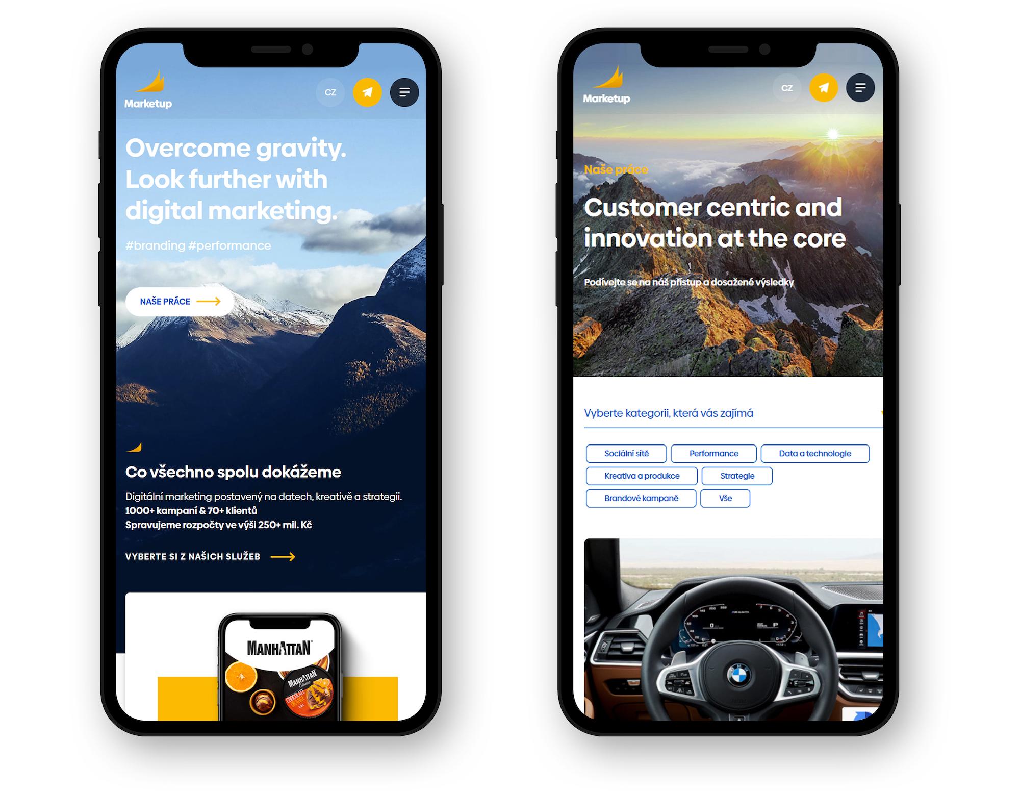 Web agentury Marketup na mobilním zařízení