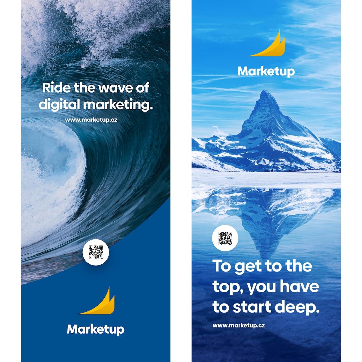 Nové vizuály agentury Marketup sprvky horských štítů, vodních ploch a s novými slogany