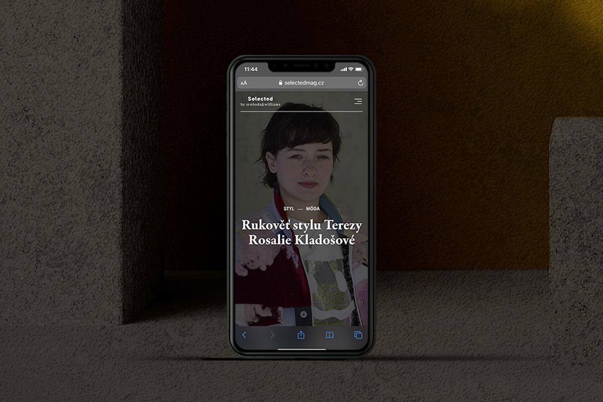 Ukázka magazínu Selected na mobilním telefonu