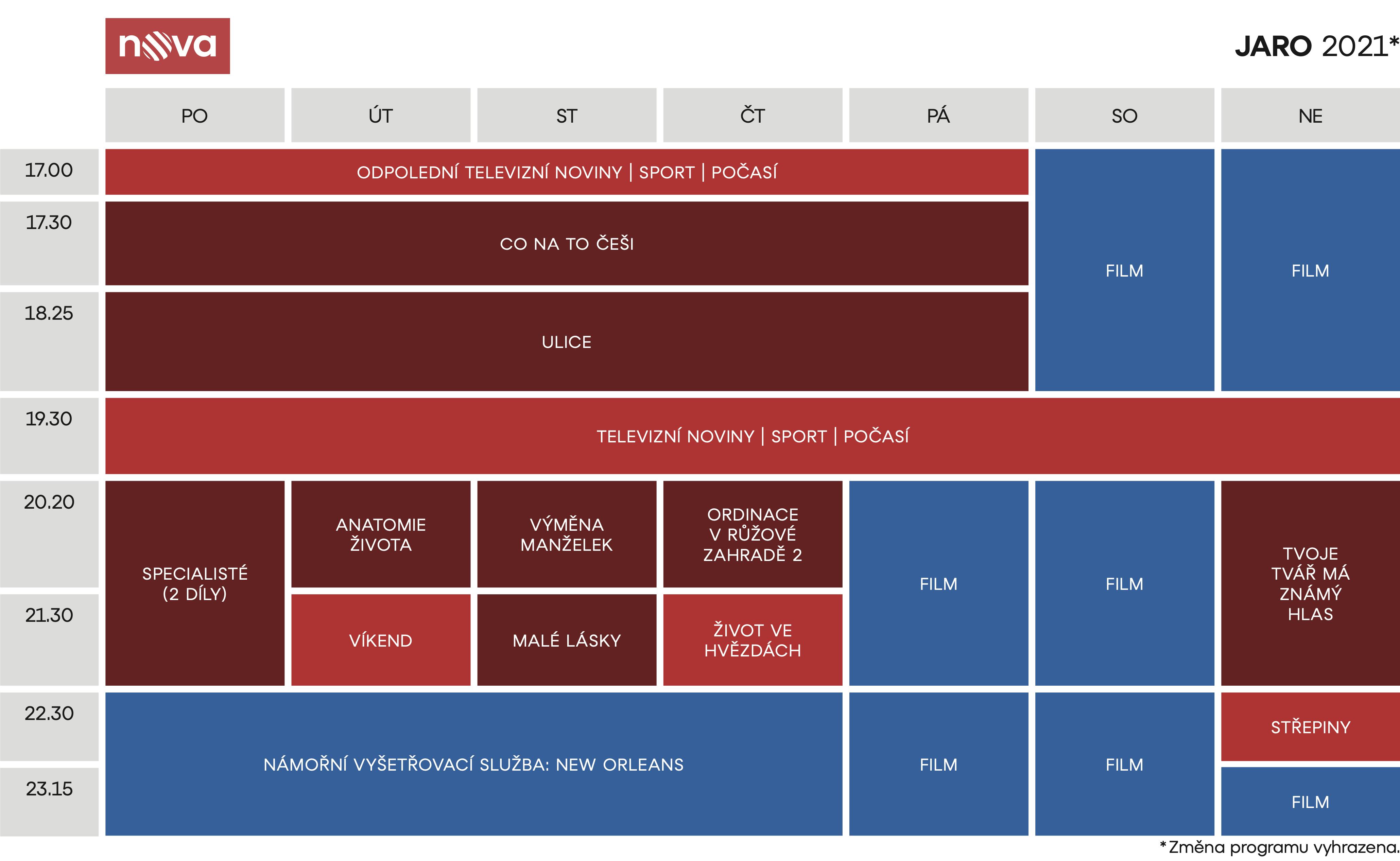 Programové schéma hlavního kanálu Novy na jaro 2021