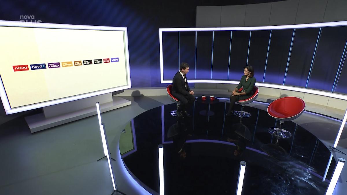 Tiskovou konferenci moderoval Ondřej Sokol. Repro: TV Nova