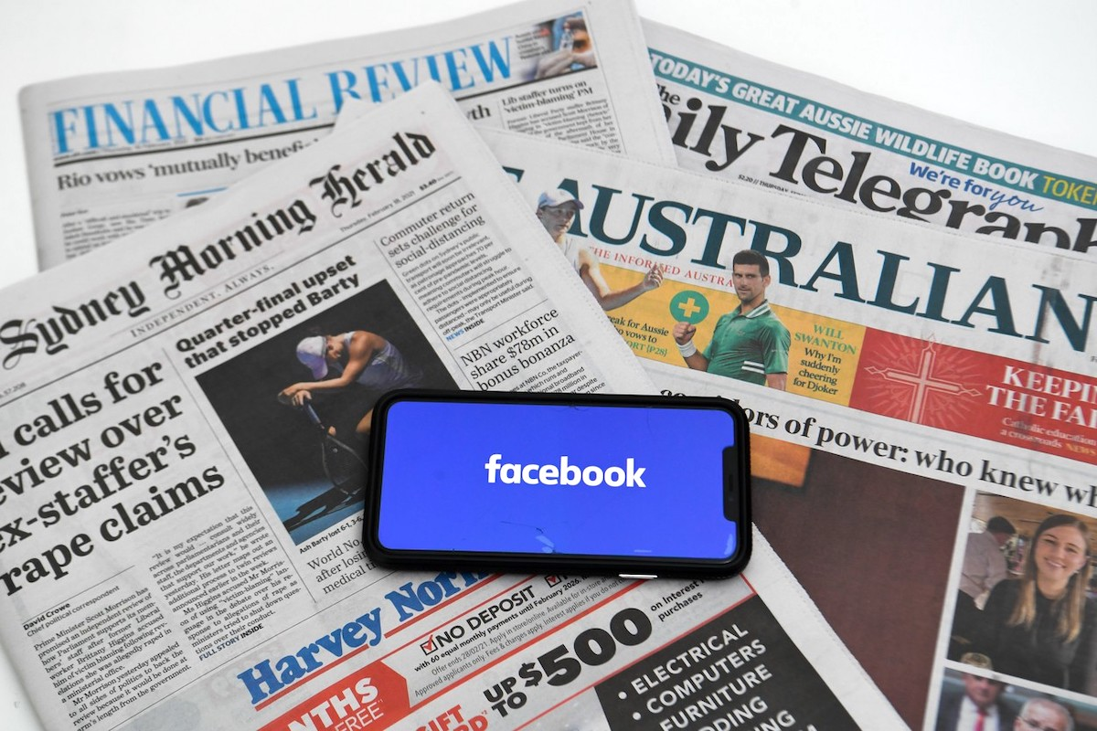 Facebook v Austrálii. Foto: Profimedia.cz