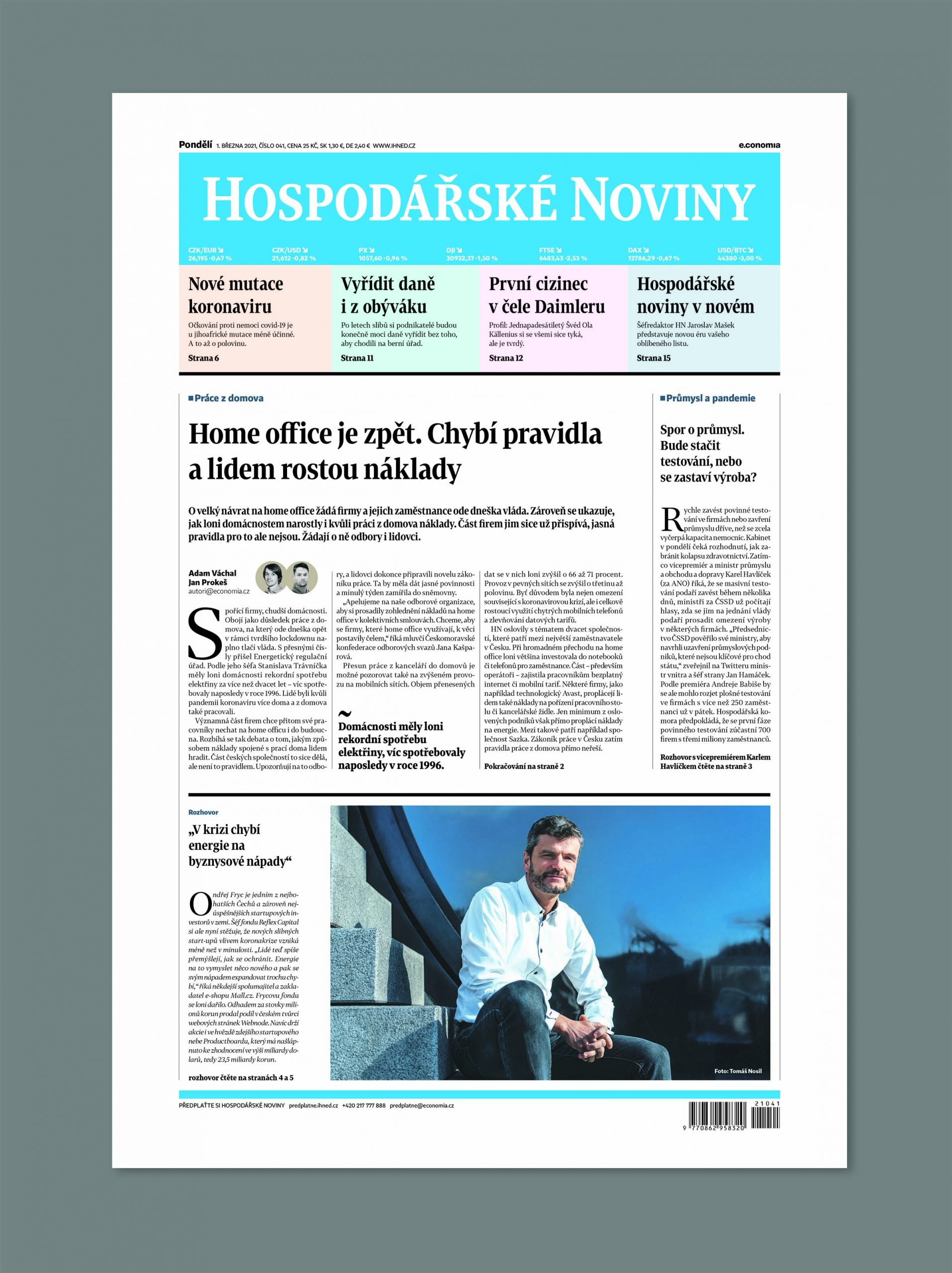 Titulní strana Hospodářských novin z 1. března