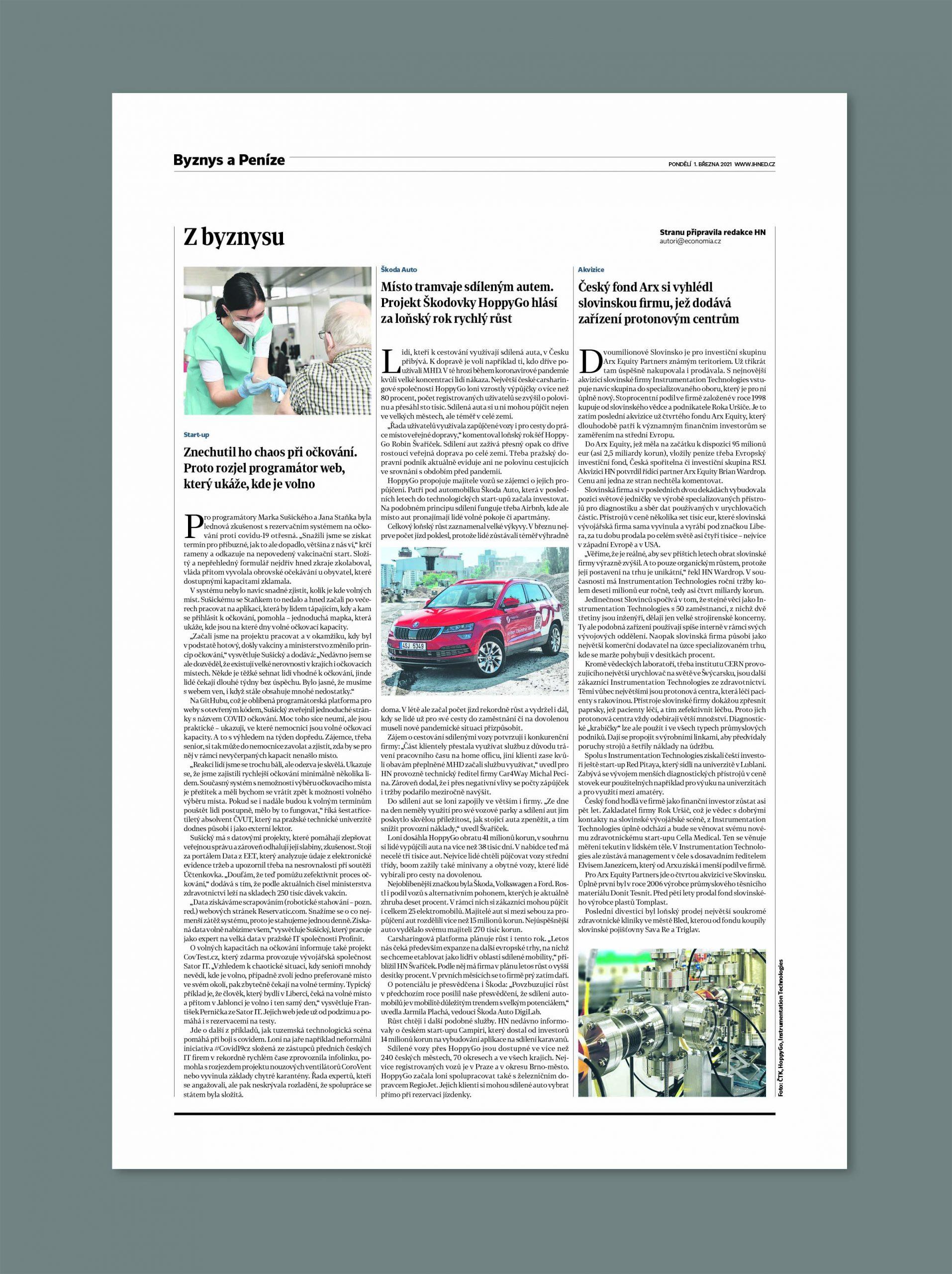 Jedna ze stran Hospodářských novin z 1. března
