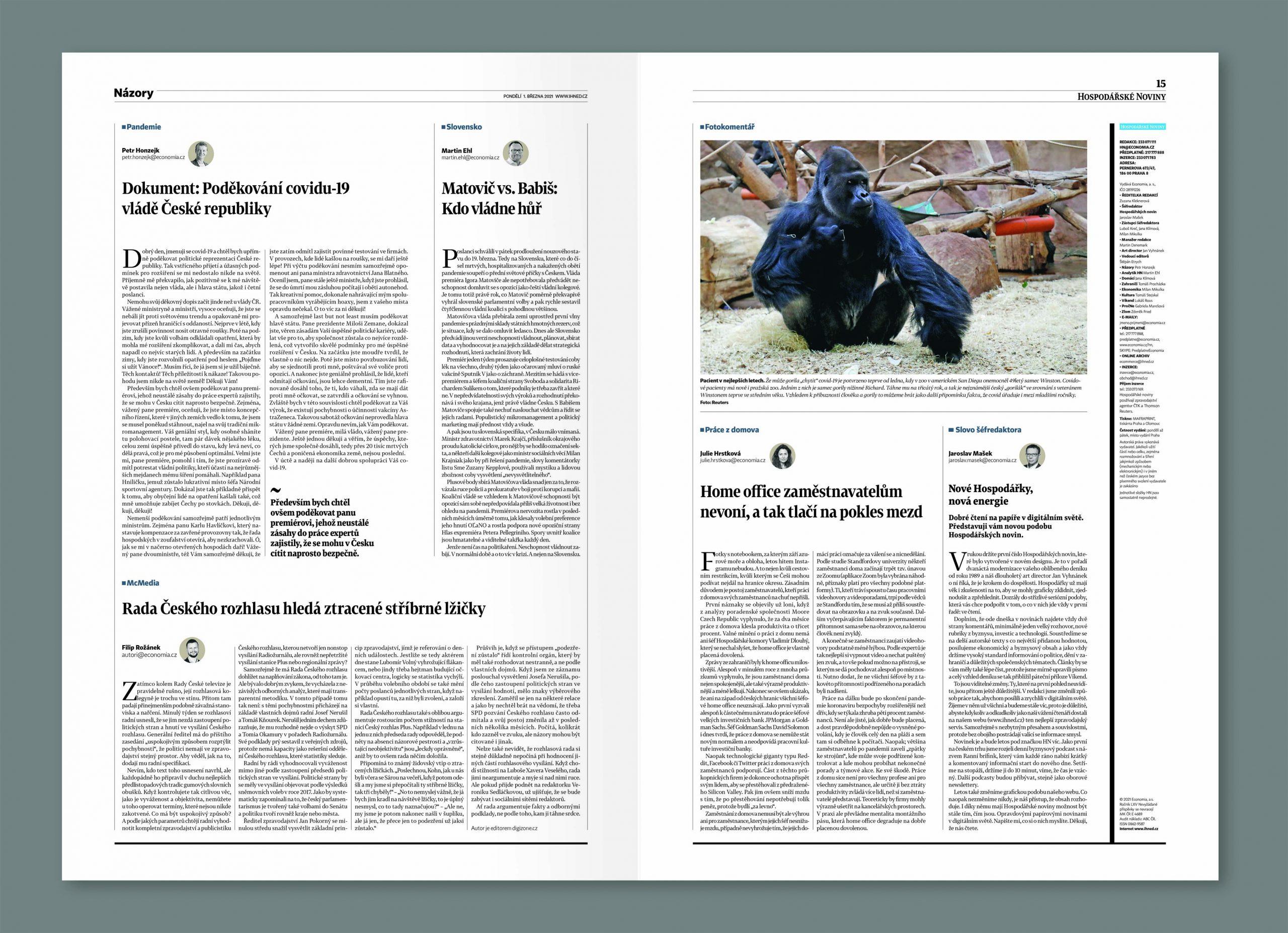 Názorová dvoustrana Hospodářských novin z 1. března