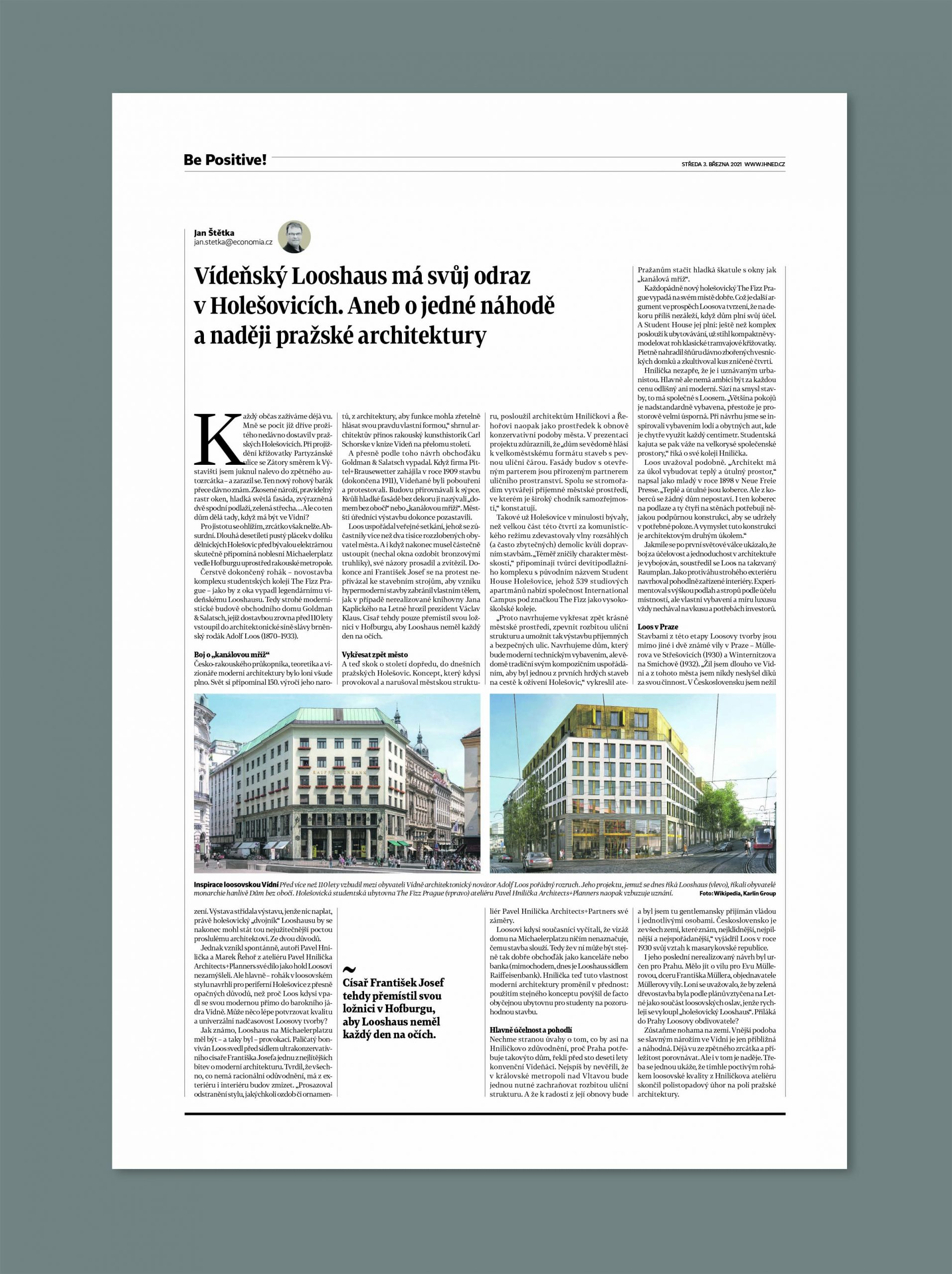 Stránka s pozitivními zprávami Hospodářských novin z 3. března