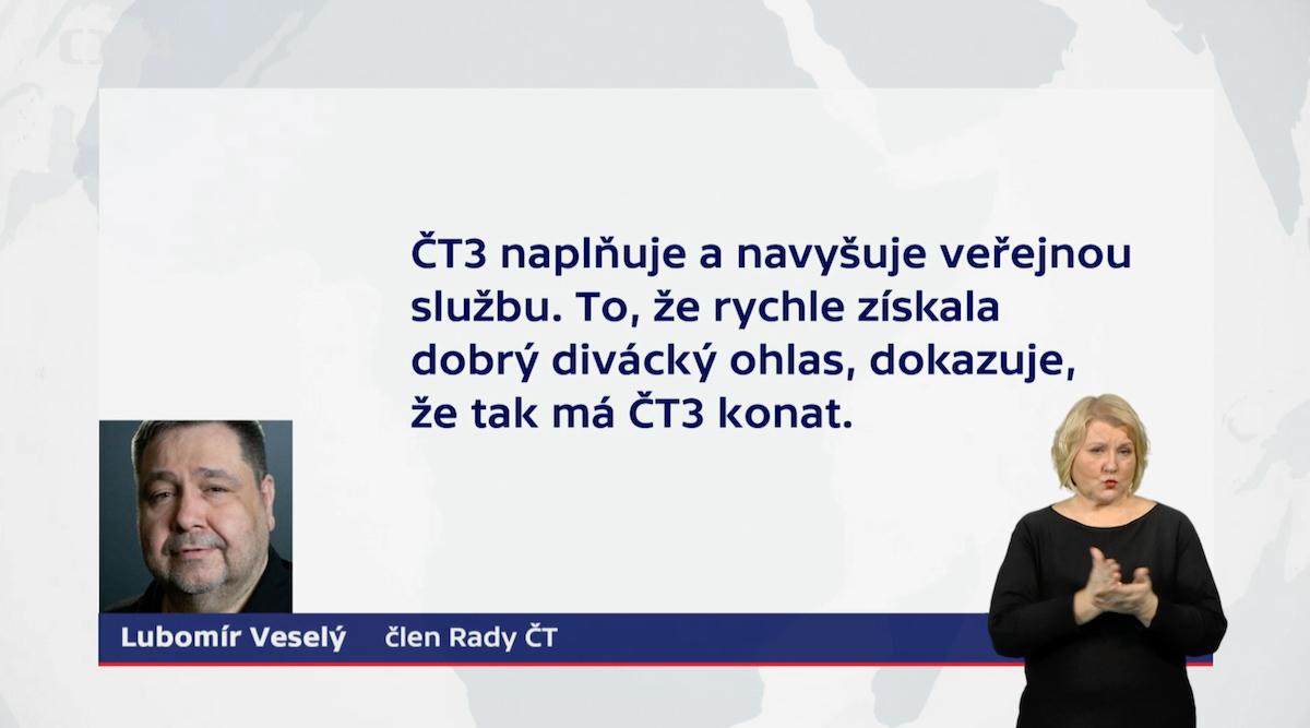 Zprávu o programu ČT3 za rok 2020 přednesl na Radě ČT radní Lubomír Xaver Veselý. Repro: ČT