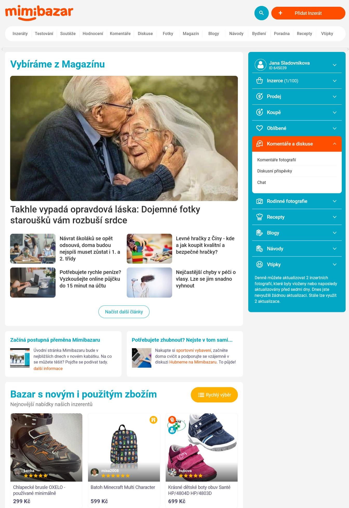 Nová podoba webu Mimibazar