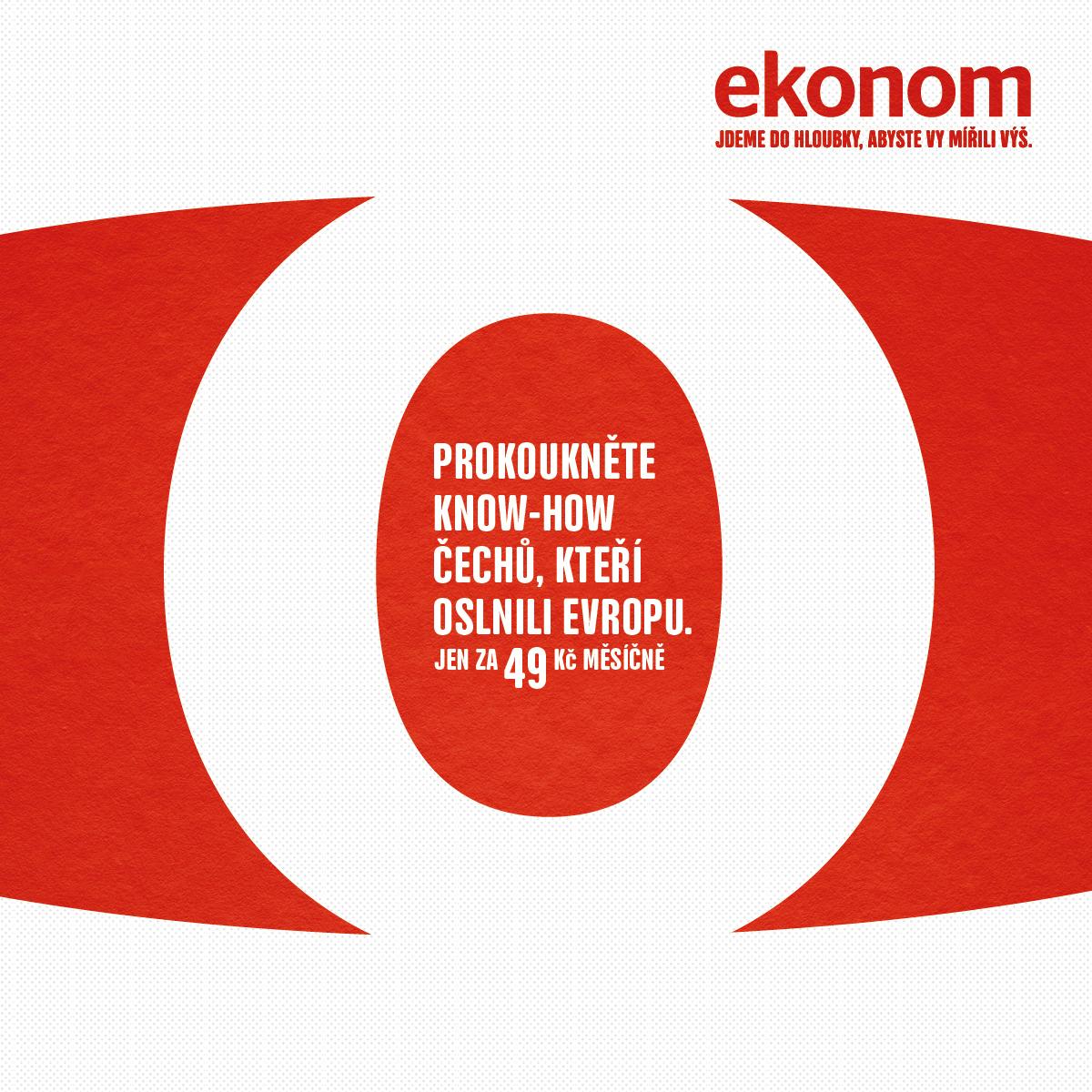 Vizuál z aktuální kampaně Ekonomu od VCCP