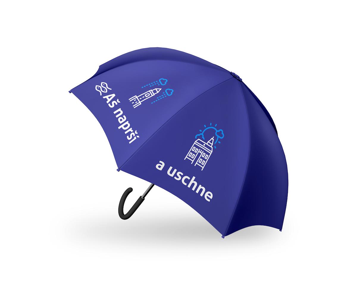 Deštník, který spojuje branding reklamních předmětů s hrou s názvem města