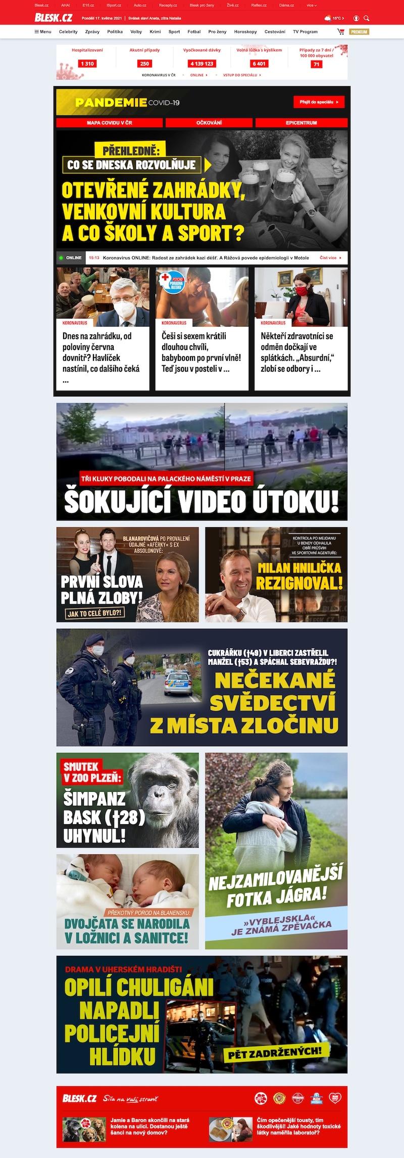 Aktuální ukázka nové homepage Blesk.cz