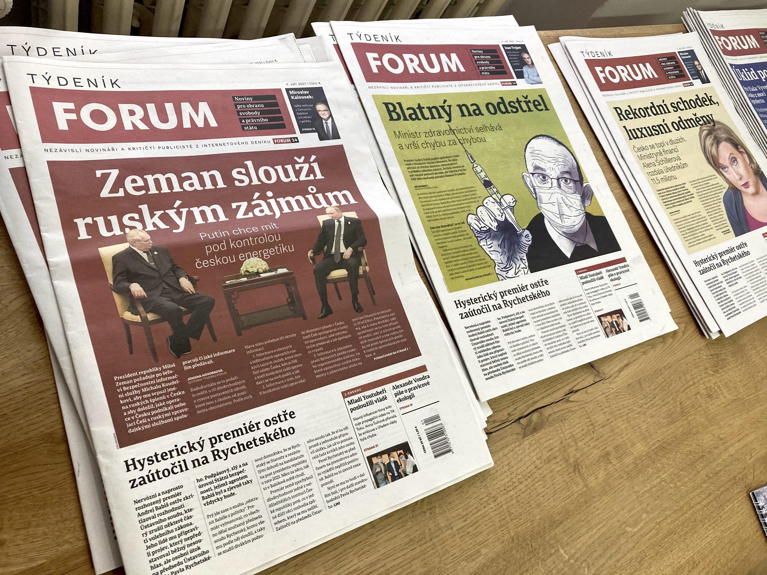 Ukázkový výtisk Týdeníku Forum