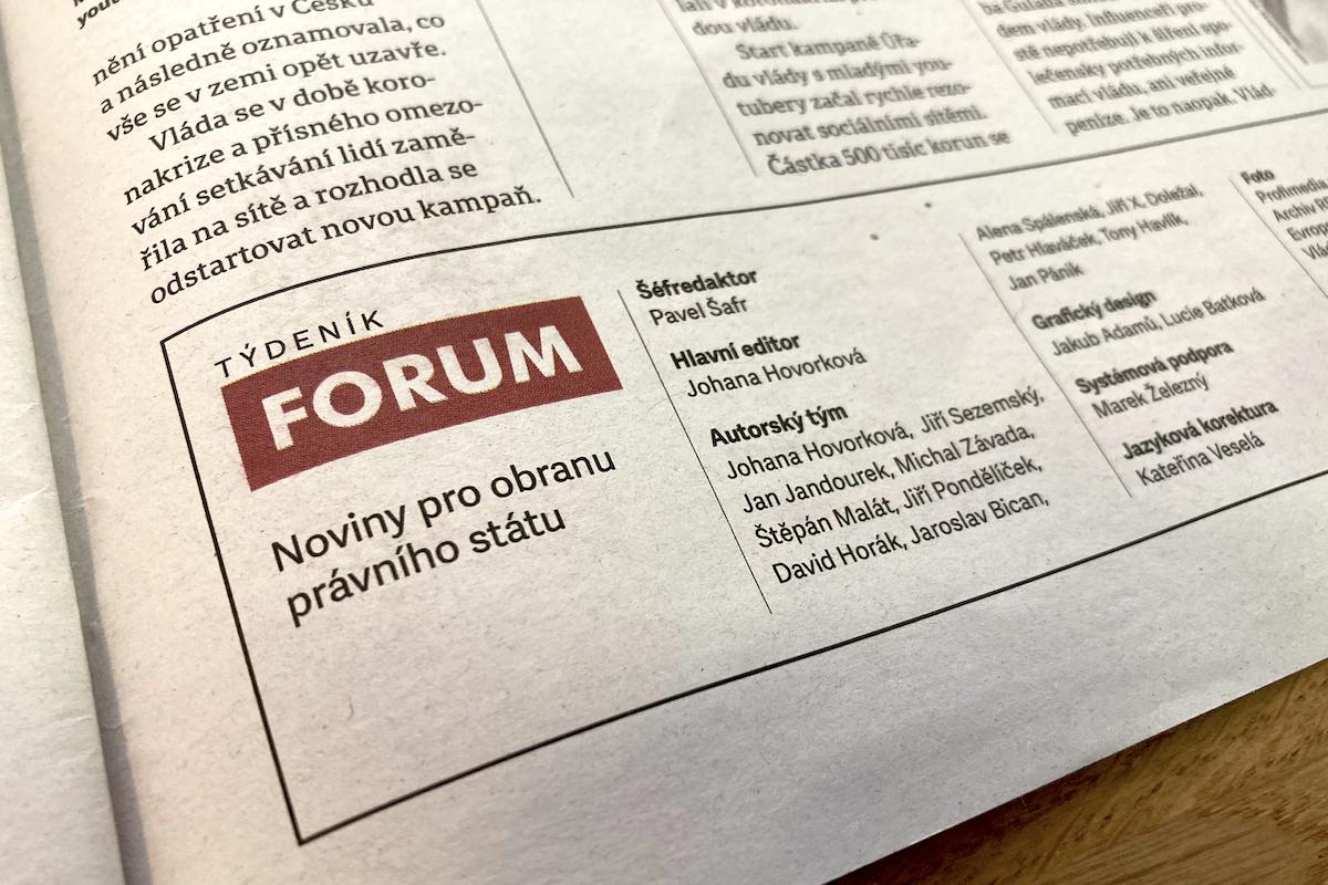 Tiráž Týdeníku Forum