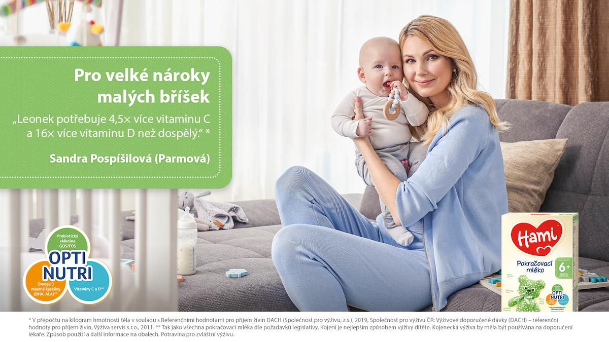 Sandra Pospíšilová v kampani Pro velké nároky malých bříšek