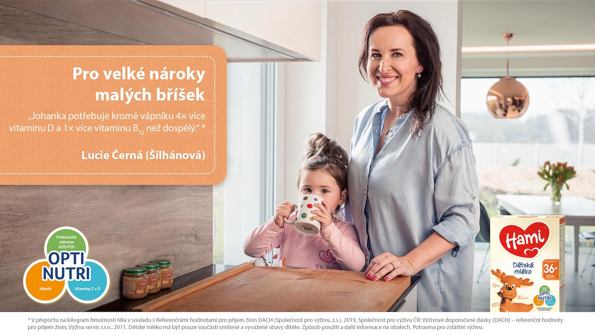 Lucie Šilhánová v kampani Pro velké nároky malých bříšek