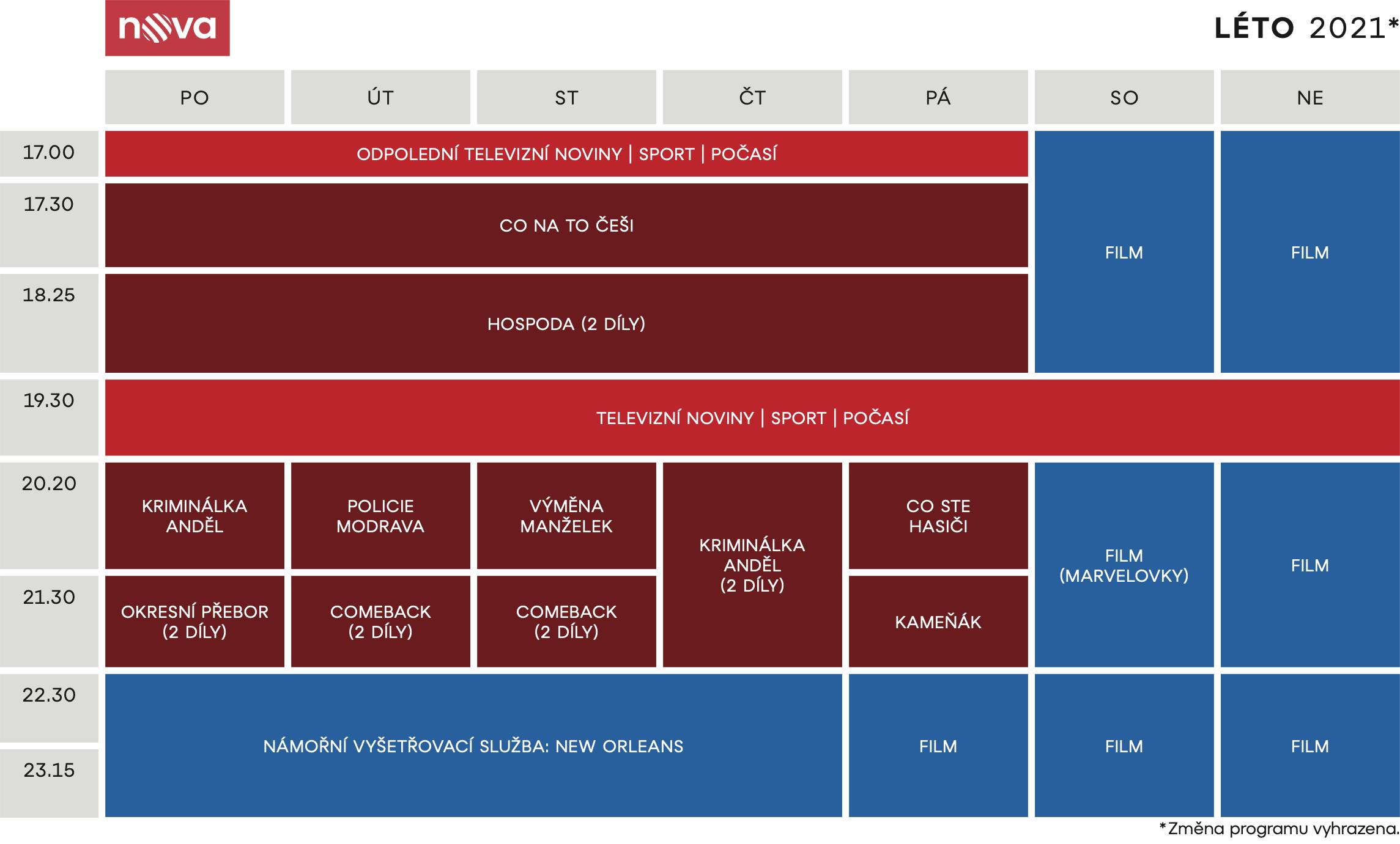 Programové schéma TV Nova na léto 2021