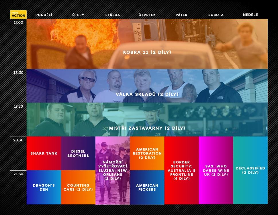 Programové schéma stanice Nova Action na podzim 2021