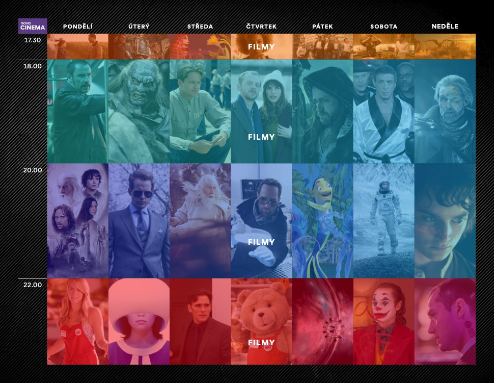 Programové schéma stanice Nova Cinema na podzim 2021