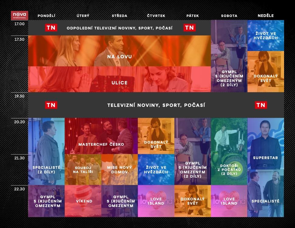 Programové schéma stanice Nova International na podzim 2021