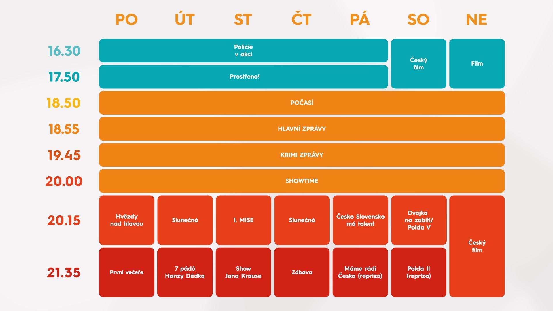 Programové schéma televize Prima na podzim 2021