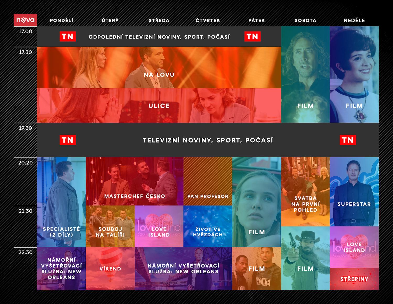 Programové schéma televize Nova na podzim 2021